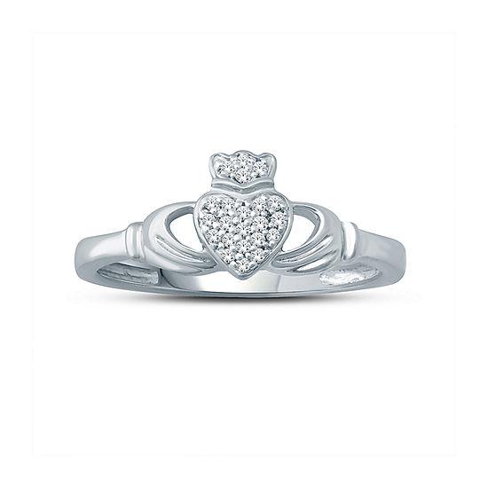 Womens Diamond Accent Genuine White Diamond 10K Gold Heart Cocktail Ring