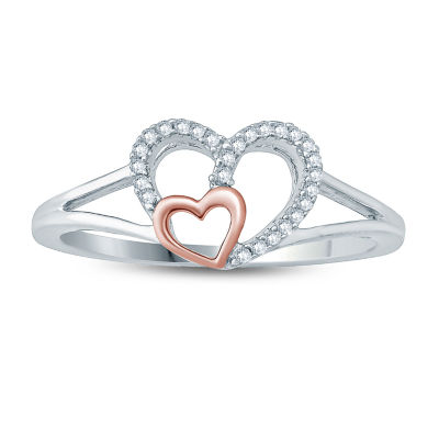Womens Diamond Accent Genuine White Diamond 10K Gold Heart Cocktail Ring