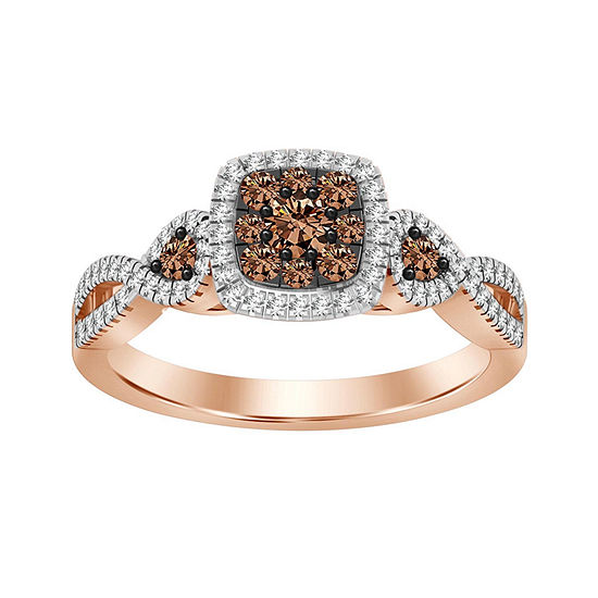 Womens 1/2 CT. T.W. Genuine Champagne Diamond 14K Gold 3-Stone Cocktail Ring