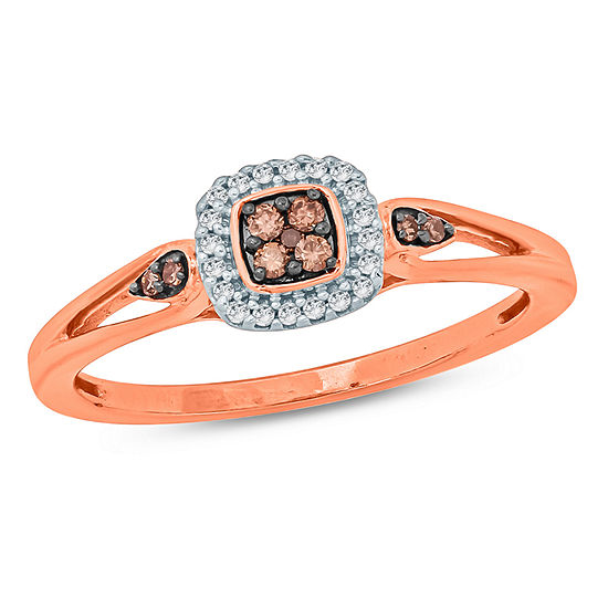 Womens 1/6 CT. T.W. Genuine Multi Color Diamond 10K Gold Engagement Ring