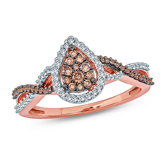 Womens 1/3 CT. T.W. Genuine Multi Color Diamond 10K Gold Cocktail Ring