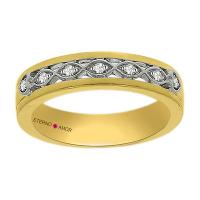 Eterno Amor Womens 1/10 CT. T.W. Genuine Diamond 14K Gold Band