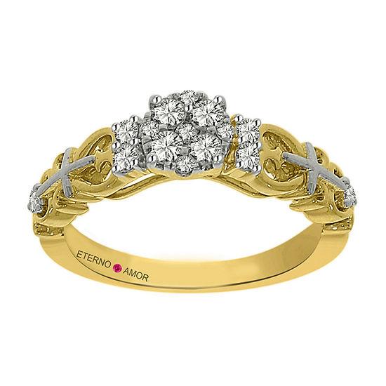 Eterno Amor Womens 1/3 CT. T.W. Genuine White Diamond 14K Gold Engagement Ring