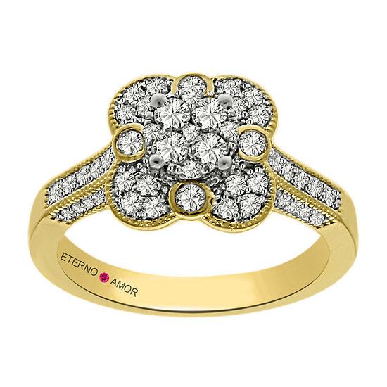 Eterno Amor Womens 3/4 CT. T.W. Genuine White Diamond 14K Gold Engagement Ring