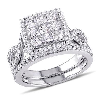 Womens 1 1/2 CT. T.W. Genuine White Diamond 10K Gold Bridal Set