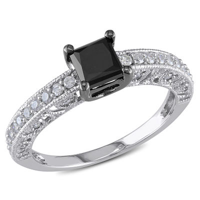 Womens 1 CT. T.W. Black Diamond 10K Gold Engagement Ring