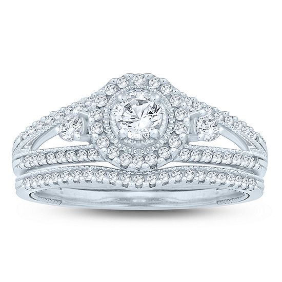 Womens 3 4 Ct Tw Genuine White Diamond 10k Gold Bridal Set