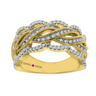 Eterno Amor Womens 3/8 CT. T.W. Genuine White Diamond 14K Gold Band