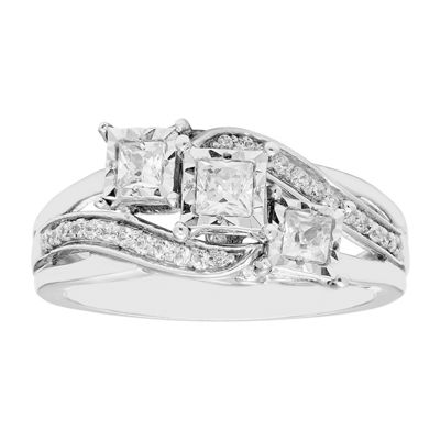 Love Lives Forever Womens 1/2 CT. T.W. Genuine White Diamond 10K Gold 3-Stone Engagement Ring