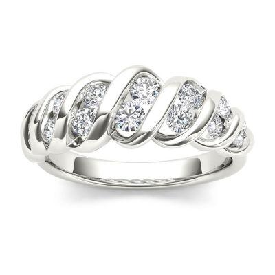 Womens 3.5mm 3/4 CT. T.W. Genuine White Diamond 14K Gold Wedding Band