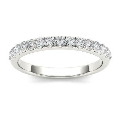 Womens 2 Mm 1/3 CT. T.W. Genuine White Diamond 10K Gold Wedding Band
