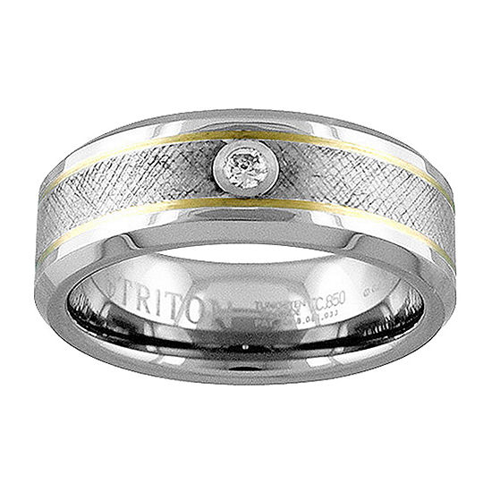 8MM Diamond Accent Genuine White Diamond 14K Gold Tungsten Round Wedding Band