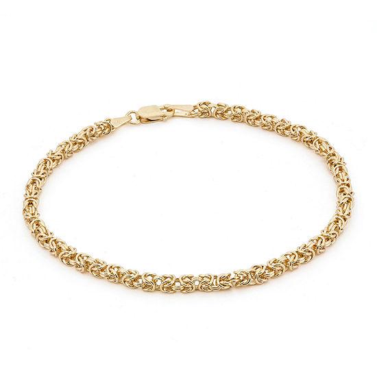14K Gold 7.25 Inch Solid Byzantine Chain Bracelet