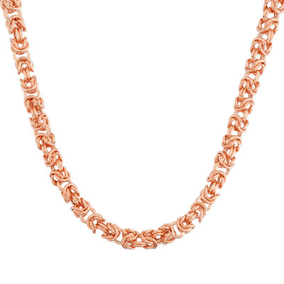 14K Rose Gold 16 Inch Solid Byzantine Chain Necklace
