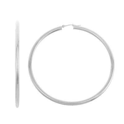 14K White Gold 60.1mm Hoop Earrings