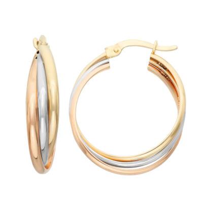 10K Tri-Color Gold 25.2mm Hoop Earrings