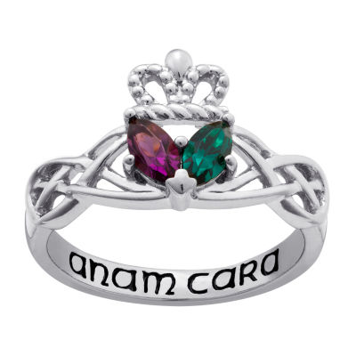 Personalized Sterling Silver Couples Claddagh Celtic Knot Ring