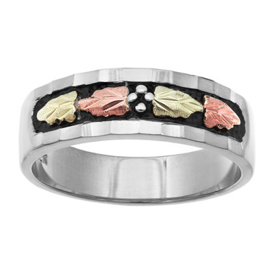 Landstroms Black Hills Gold Womens Sterling Silver Wedding Band