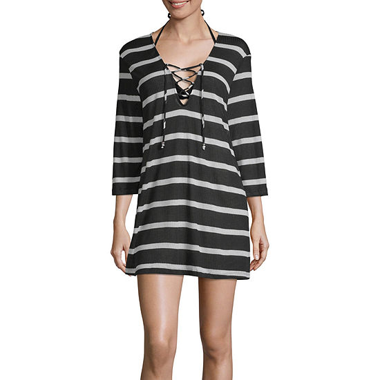 Porto Cruz Striped Knit Swimsuit Cover Up Dress