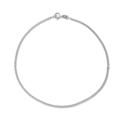 Sterling Silver 10 Inch Solid Curb Ankle Bracelet