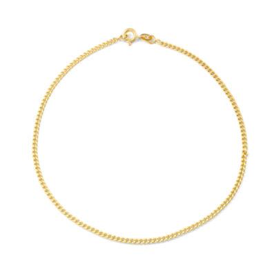 14K Gold Over Silver 10 Inch Solid Curb Ankle Bracelet