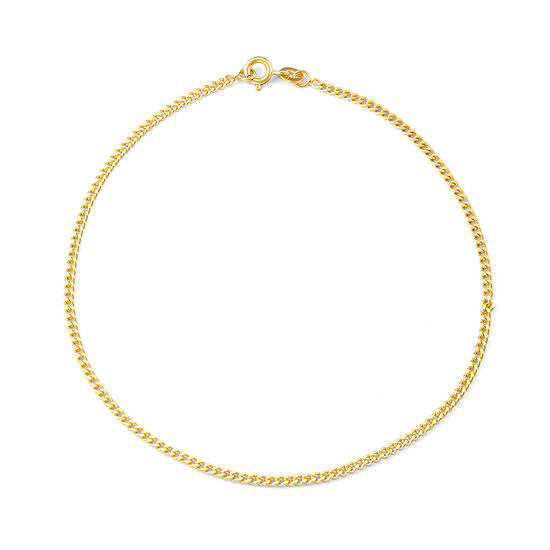14K Gold Over Silver 10 Inch Solid Curb Ankle Bracelet