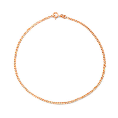 14K Rose Gold Over Silver 10 Inch Solid Curb Ankle Bracelet