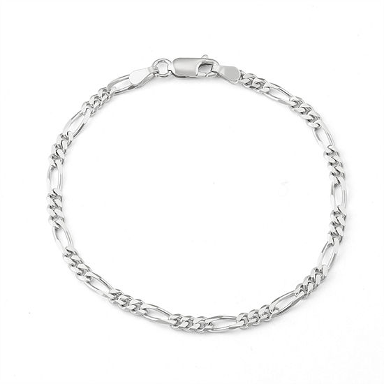Sterling Silver 7.5 Inch Solid Figaro Chain Bracelet