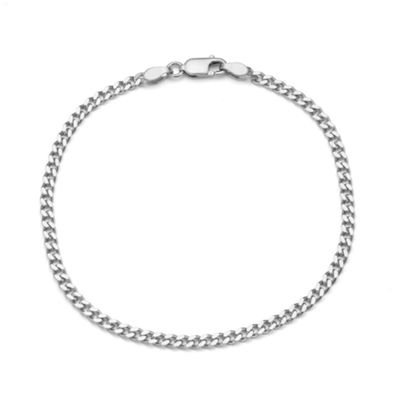 Sterling Silver 7.5 Inch Solid Curb Chain Bracelet
