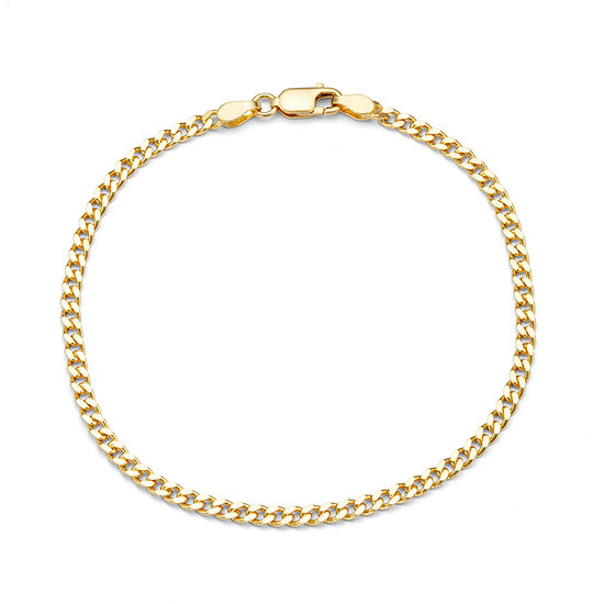 14K Gold Over Silver 7.5 Inch Solid Curb Chain Bracelet