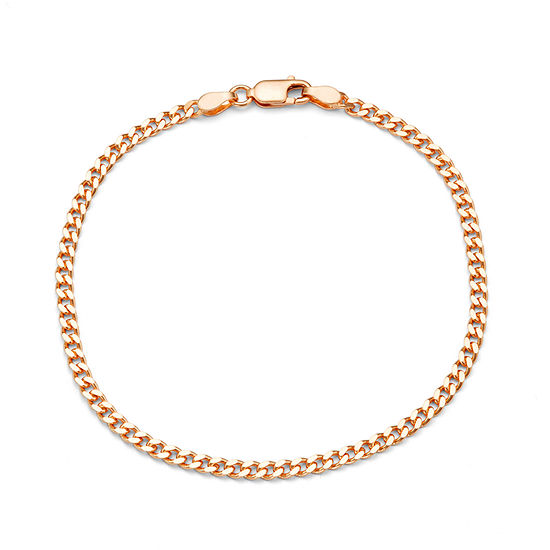 14K Rose Gold Over Silver 7.5 Inch Solid Curb Chain Bracelet