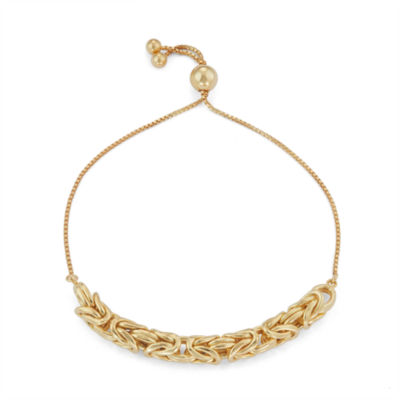 14K Gold Over Silver 10 Inch Solid Byzantine Chain Bracelet