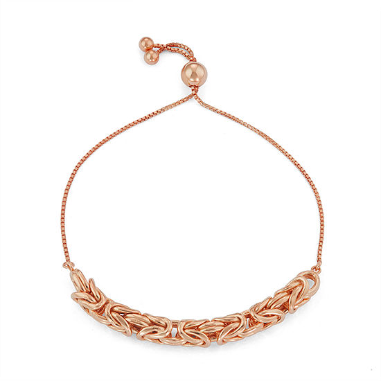 14K Rose Gold Over Silver 10 Inch Solid Byzantine Chain Bracelet