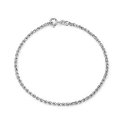 Sterling Silver 7.5 Inch Solid Rope Chain Bracelet