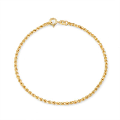14K Gold Over Silver 7.5 Inch Solid Rope Chain Bracelet