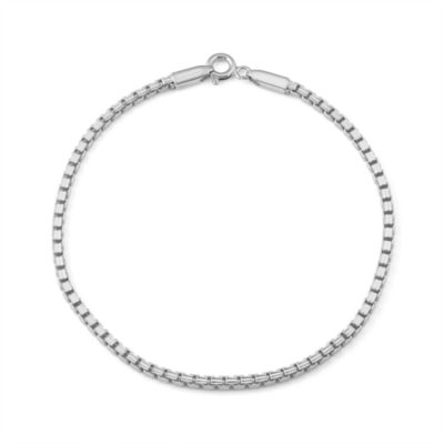 Sterling Silver 8 Inch Solid Box Chain Bracelet