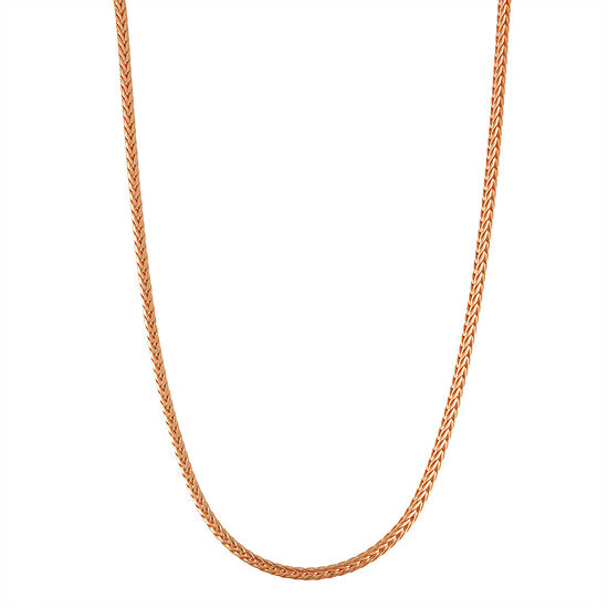14K Rose Gold Over Silver 18 Inch Solid Wheat Chain Necklace