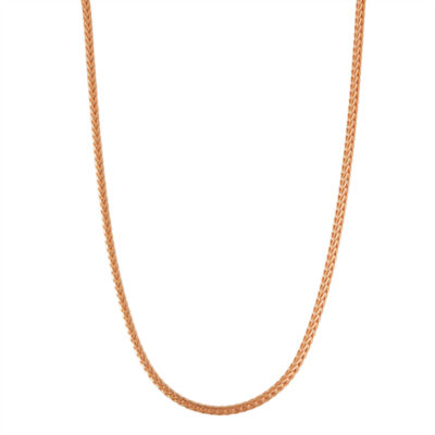 14K Rose Gold Over Silver 20 Inch Solid Wheat Chain Necklace