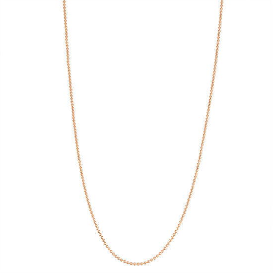 14K Rose Gold Over Silver 22 Inch Solid Bead Chain Necklace