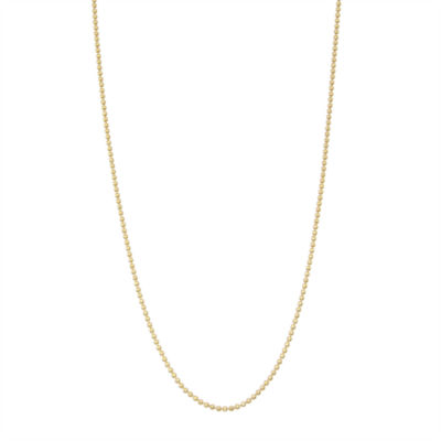 14K Gold Over Silver 16 Inch Solid Cable Chain Necklace