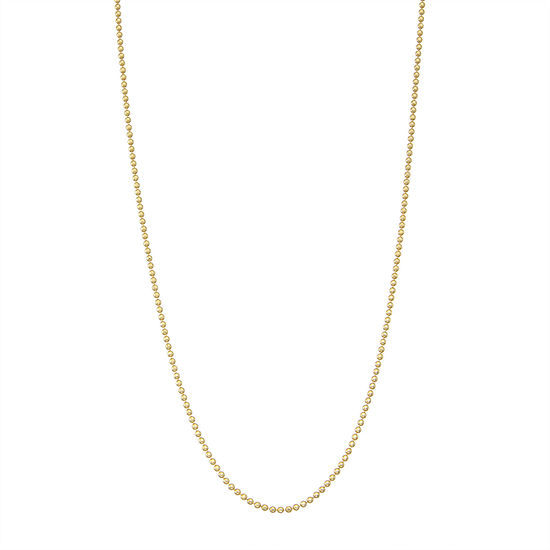 14K Gold Over Silver 24 Inch Solid Bead Chain Necklace