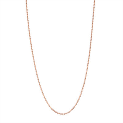 14K Rose Gold Over Silver 16 Inch Solid Cable Chain Necklace