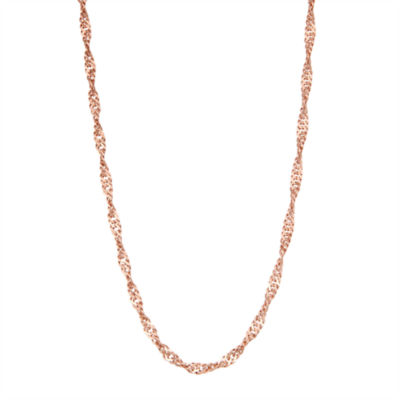Sterling Silver 16 Inch Solid Singapore Chain Necklace