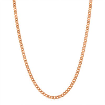 14K Rose Gold Over Silver 16 Inch Solid Curb Chain Necklace