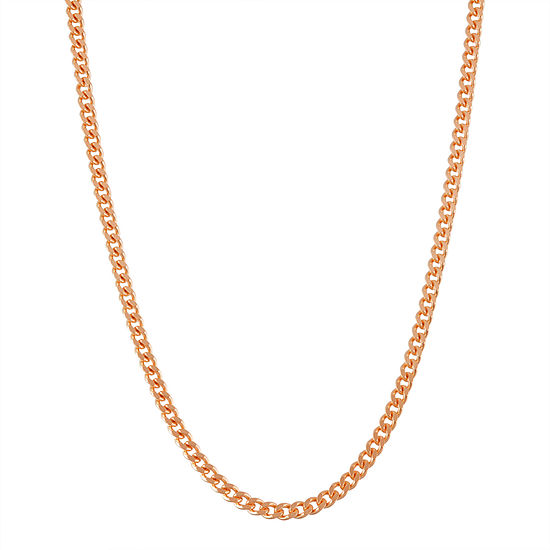 14K Rose Gold Over Silver 18 Inch Solid Curb Chain Necklace