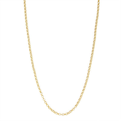 14K Gold Over Silver 16 Inch Solid Link Chain Necklace