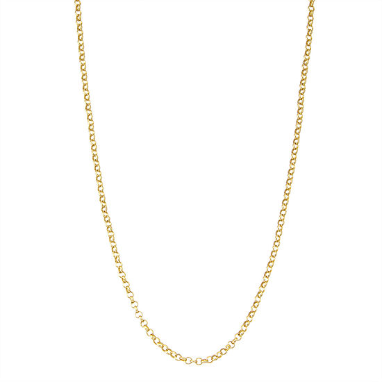 14K Gold Over Silver 18 Inch Solid Link Chain Necklace