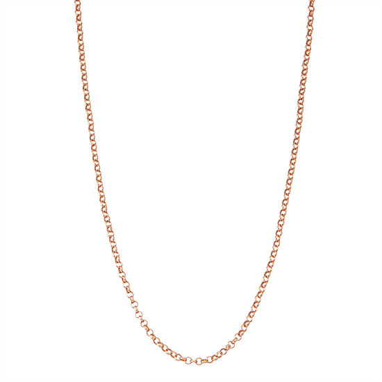 14K Rose Gold Over Silver 18 Inch Solid Link Chain Necklace