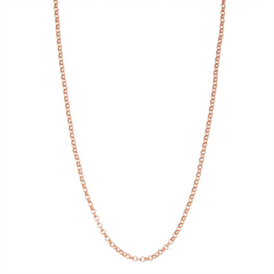 14K Rose Gold Over Silver 20 Inch Solid Link Chain Necklace