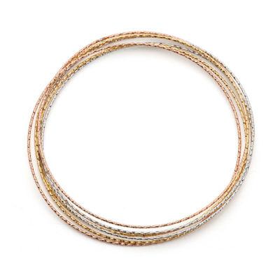 Made in Italy 14K Tri-Color Gold Bangle Bracelet